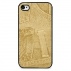 Retro Stylish Jeans Pattern Protective Plastic Back Case for Iphone 4S - Yellow