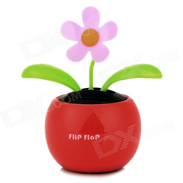 SU-32-LR Flower Style Solar Powered Car Auto Swing Dancing Toy - Red + Green + Pink