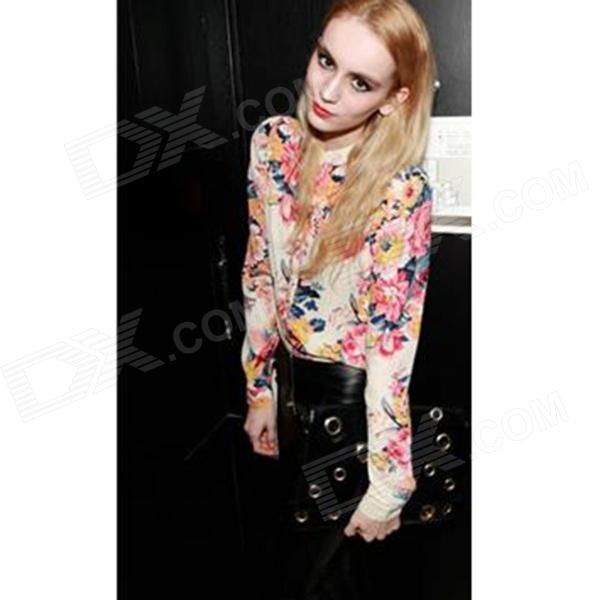 Women's Fashion Flowers Long Sleeve Chiffon Shirt Blouse - Multicolored (M)