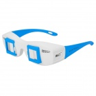 Side-By-Side Stereo 3D Glasses for Computer / TV / Projector - White + Blue