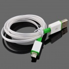 Luminous USB Male to USB Male Charging Data Sync Cable for Samsung, HTC + More - White + Green(93cm)