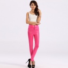 LC79289-4 Fashionable Women's High Waist Faux Leather Zip Leggings - Deep Pink (Free Size)