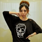 Skull Pattern Loose Women Lace Long Sleeve Bottoming Shirt - Black  (Free Size)
