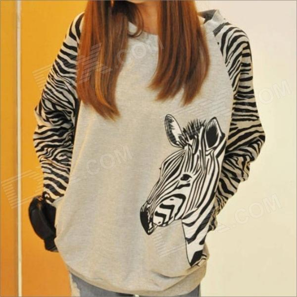 Zebra Stripe Unlined Upper Garment loose Women's Long-Sleeve Render Fleece T-shirt - Grey (Size-L)
