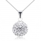PSIW119C1 925 Sterling Silver Full Lucky Ball Pendant Necklace - White