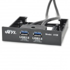 "JEYI U128 20/19 Pin to Double USB3.0 Port Front Panel w/ 2.5"" HDD Holder - Black"