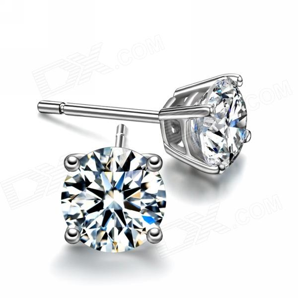 eQute ESIW116  925 Sterling Silver Zircon Excellent Craft Stud Earrings sterling silver ear thread