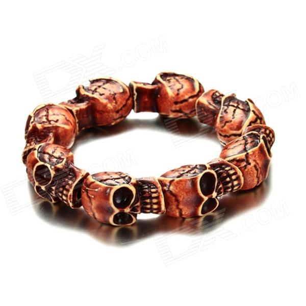 Фото - eQute BOTM1C4 Retro Skull Pattern Bead Bracelet - Vermilion + Black equte fashion men s nature tiger eye agate chatoyancy big dragon pattern bead bracelet black