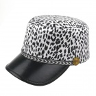 Mode Leopardenmuster Flat Top Hat - Black + White