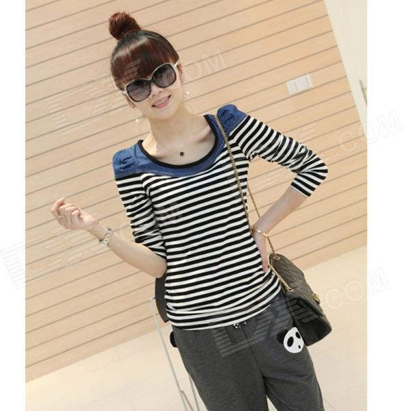 8430 Fashion Women's Stripe Pattern Cotton Jeans Round Collar T Shirt - Blue + Black