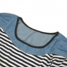 8430 fashion Stripe Pattern cotone Jeans donna rotondo collo T Shirt - blu + nero