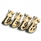 Leopard Pattern Flocking Shoes for Pet Dog - Black + Golden (4 PCS)