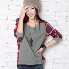 904 Fashion Round Collar Long Sleeve Check Pattern T Shirt - Red + Grey (M)