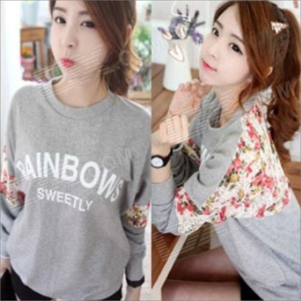 Women's Round Collar Loose Flower Pattern T-Shirt - Grey (Size-L)