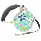 Flower Pattern Retractable Pet Dog Strap Leash w/ Control Button (4.5m)