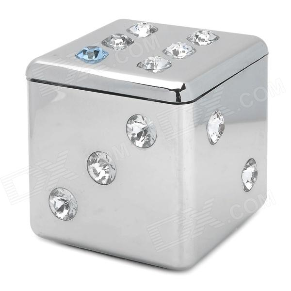 Fashionable Dice Style Shiny Crystal Decorated Zinc Alloy Ashtray - Silver fashionable dice style shiny crystal decorated zinc alloy ashtray silver