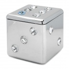 Fashionable Dice Style Shiny Crystal Decorated Zinc Alloy Ashtray - Silver