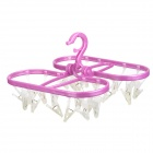 24-Clip Multifunction Plastic Foldable Drying Rack - Fuchsia