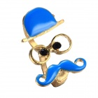 eQute RPEW2C5 Vintage Moustache Face Book Ring Two Finger Ring - Blue + Golden