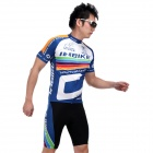 INBIKE lA256 Outdoor Cycling Short-sleeve Jersey + Shorts for Men - Black + White + Blue (XXL)