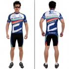 INBIKE 1A256 Outdoor Cycling Short-sleeve Jersey + Shorts for Men - Black + White + Blue (XL)