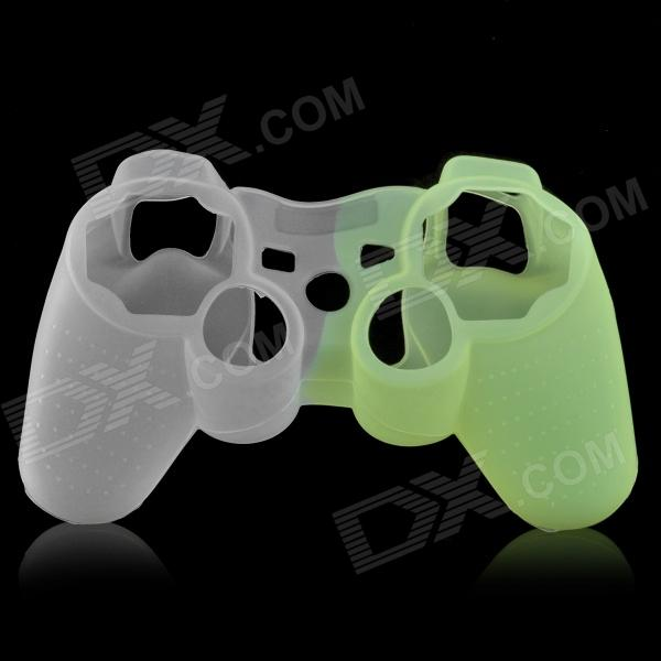 Protective Silicone Case for PS3 Controller - White + Fluorescent Green