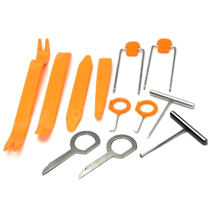 12-in-1 Professional Plastic Car DIY Repair / Remove Tools Set - Yellow + Silver