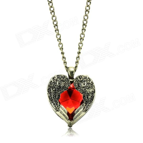eQute SPEW11C3 Vintage Red Heart Style Angel Wings Necklace - Bronze + Red (17
