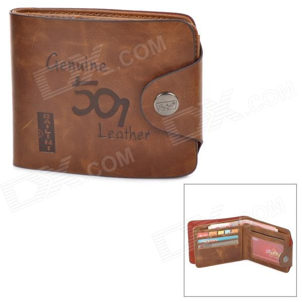 Men's Stylish Folding Split Leather Wallet - Coffee vintage women short leather wallets stylish wallet coin card pocket holder wallet female purses money clip ladies purse 7n01 18