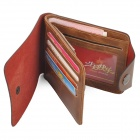 Men's Stylish Folding Split Leather Wallet - Coffee