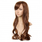 AX501 Decorative Long Half Curly Slanting Fringe Wig for Women - Brownish Yellow