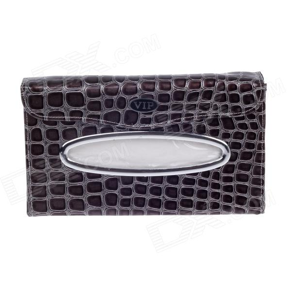 YUCHEZAI Multifunctional Alligator PU Leather Car Sun Visor Sunshade / Tissue Case - Black + Grey