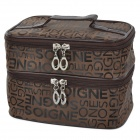 WuHua 641-35 Letters Pattern Waterproof Dual-layer Folding Nylon Make-up Bag - Deep Brown