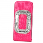 Protective PU Leather + Plastic + Crystal Top-Down Case for iPhone 5 / 5s - Red