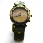 Fashionable Retro Style PU leather Band Quartz Analog Wrist Watch - Green (1 x 626)