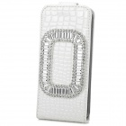 Protective PU Leather + Plastic + Crystal Top-Down Case for Iphone 5 / 5s - White