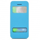 Protective Plastic + PU Leather Case w/ Dual Windows for Iphone 5C - Light Blue