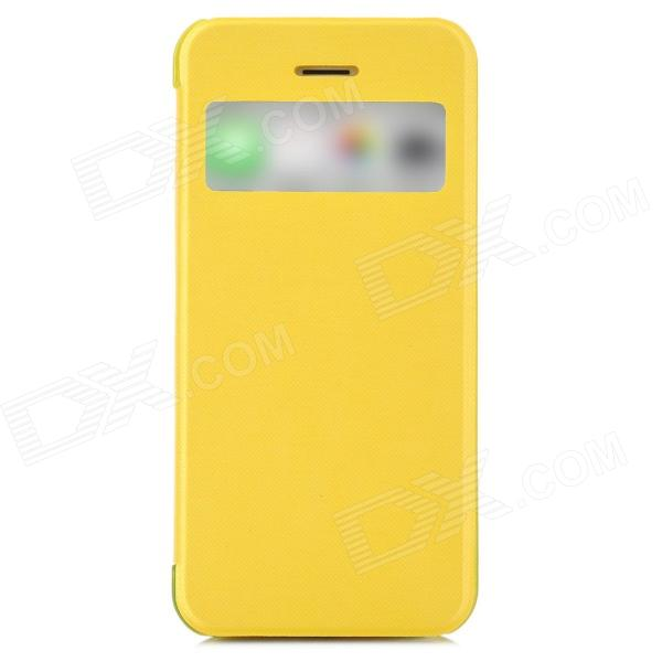 Protective Plastic Case w/ Window for Iphone 5S - Yellow protective plastic case for motorola razr xt910 yellow