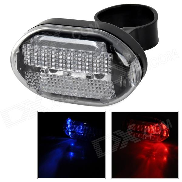 LY-P08 Stylish Red + Blue Light LED Tail Lamp for Bicycle - Black (2 x AAA)