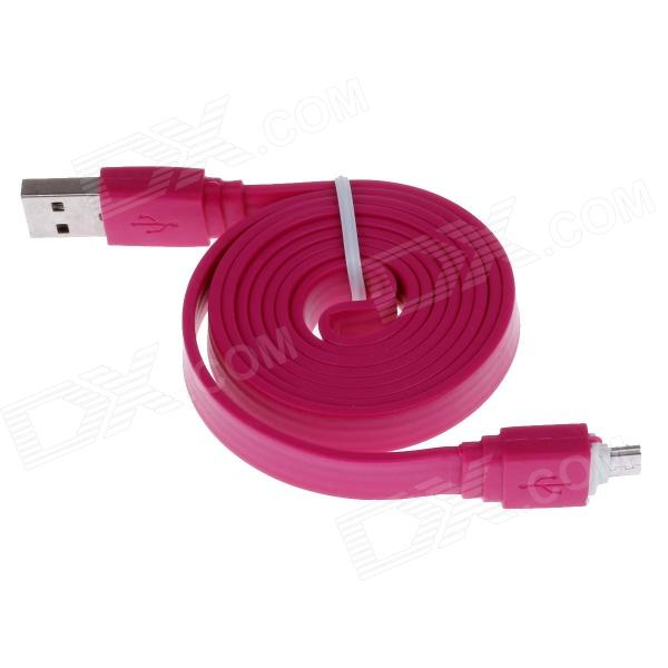 USB Male to Micro USB Male Flat Charging Data Sync Cable - Deep Pink (105cm-Length)