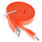 USB Male to Micro USB Male Flat Charging Data Sync Cable - Orange (105cm)