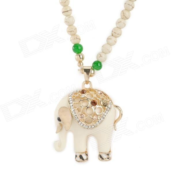Agate Beads Long Necklace w/ Crystal Elephant Pendant - White + Black ball shape beads pendant necklace