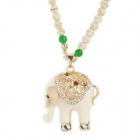 Agate Beads Long Necklace w/ Crystal Elephant Pendant - White + Black