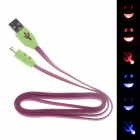 Smile Face Flat USB 2.0 Male to Micro USB Male Data Sync / Charging Cable - Deep purple (100cm)