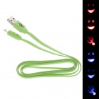 Smile Face Flat USB 2.0 Male to Micro USB Male Data Sync / Charging Cable - Green (100cm)