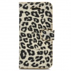 Leopard Pattern Protective PU Leather Case w/ Stand + Card Slots for Iphone 5C - Yellow + Black