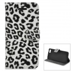 Leopard Pattern Protective PU Leather Case w/ Stand + Card Slots for Iphone 5C - White + Black