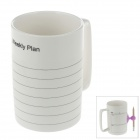 "Ceramic ""Weekly Plan"" Schedule Mug w/ Sponge / Suction cup Pen Holder + Pencil - White"