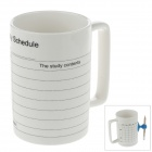 Fashionable Ceramic Daily Schedule Mug w/ Sponge / Suction cup Pen Holder + Pencil - White