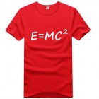Pure Cotton E=MC2 Creative Pattern Short Sleeve T-Shirt for Men - Red (L)